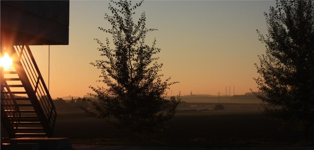 """""""Sonnenaufgang"""" – Blick über die Felder nach Osten"""