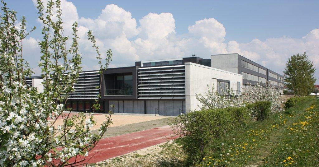 Schule und Sportplatz sind von Grün umgeben